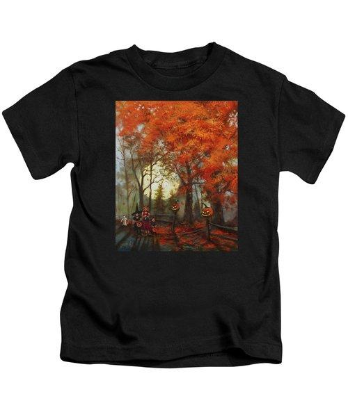 Full Moon On Halloween Lane Kids T-Shirt