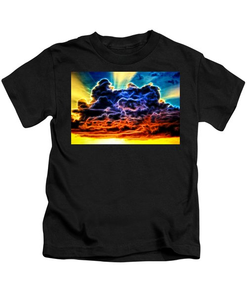 Funky Glowing Electrified Rainbow Clouds Abstract Kids T-Shirt
