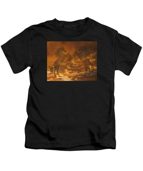 Ghost Horses At Sunset Kids T-Shirt