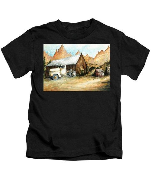 Ghost Town Nevada - Western Art Painting Kids T-Shirt