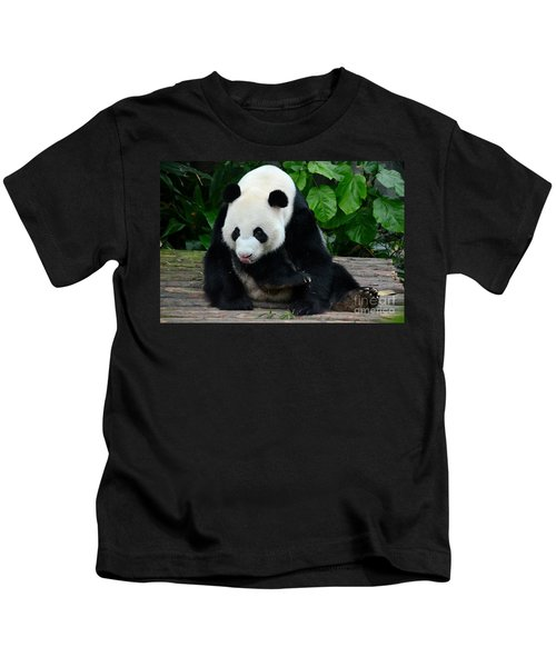 Giant Panda With Tongue Touching Nose At River Safari Zoo Singapore Kids T-Shirt