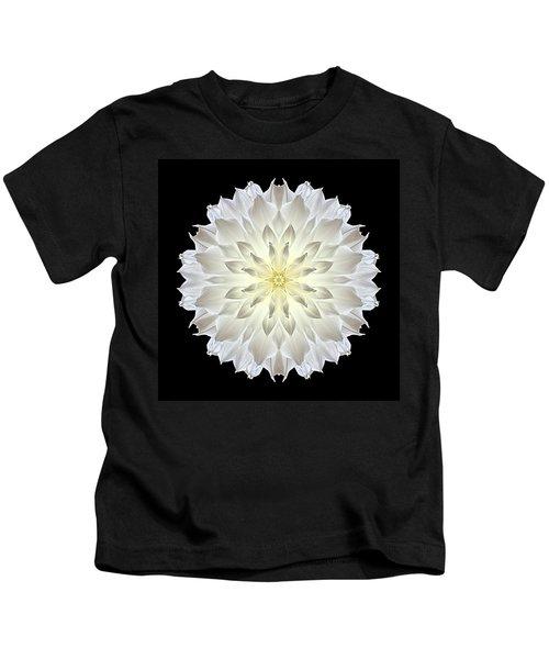 Giant White Dahlia Flower Mandala Kids T-Shirt