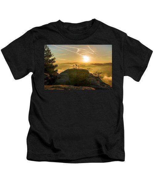 Golden Morning On The Lilienstein Kids T-Shirt