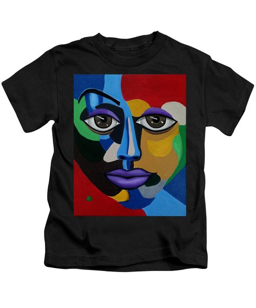 Colorful Abstract Face Art Painting, 3d Illusion, Big Brown Eyes, Purple Lips Kids T-Shirt