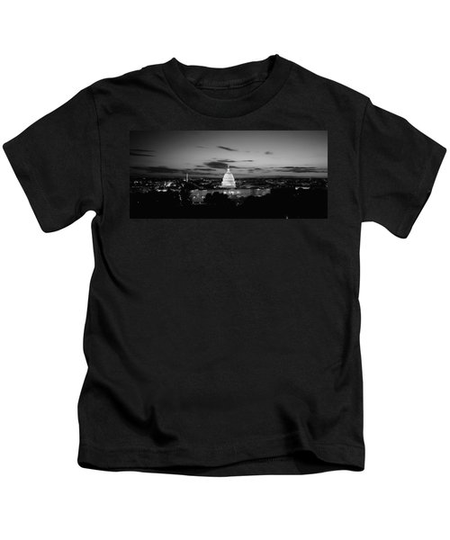 Government Building Lit Up At Night, Us Kids T-Shirt by Panoramic Images