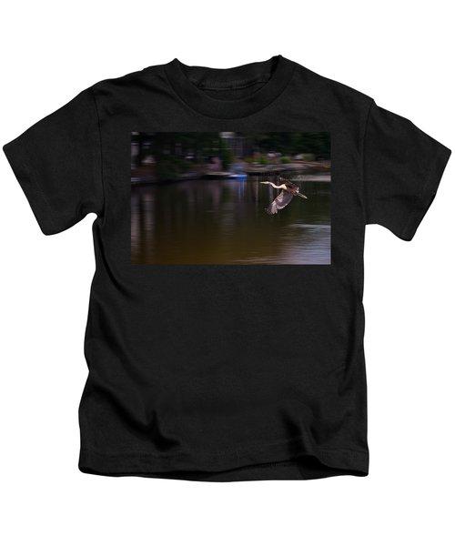 Great Blue Heron In Flight Kids T-Shirt