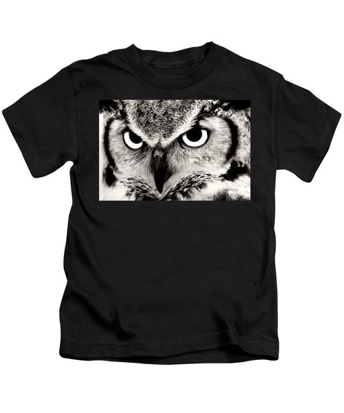 Great Horned Owl In Black And White Kids T-Shirt