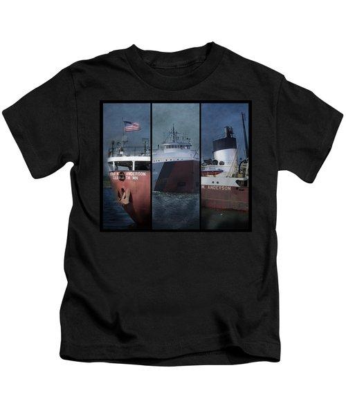 Great Lakes Freighter Triptych Arthur M Anderson Kids T-Shirt