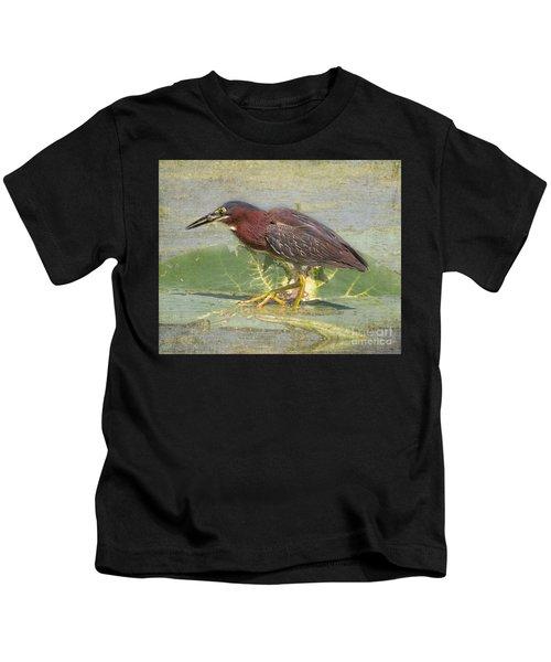 Green Heron - Snack Time Kids T-Shirt