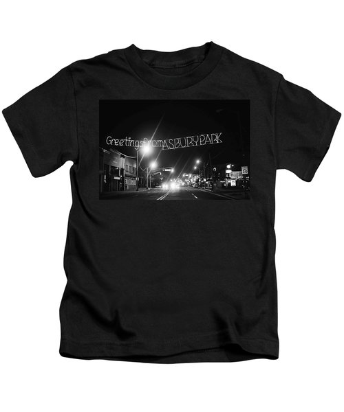 Greetings From Asbury Park New Jersey Black And White Kids T-Shirt