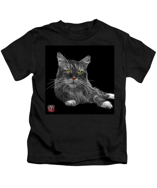 Greyscale Maine Coon Cat - 3926 - Bb Kids T-Shirt