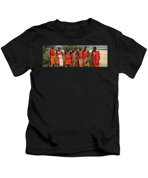 Group Of Maasai People Standing Side Kids T-Shirt