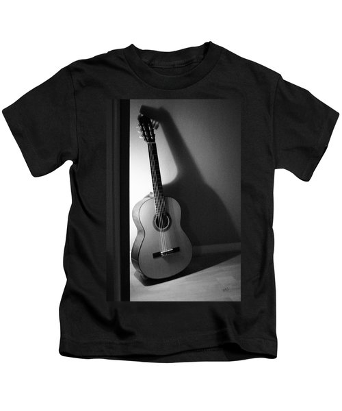 Guitar Still Life In Black And White Kids T-Shirt