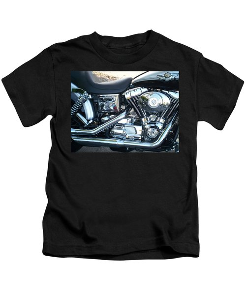 Harley Black And Silver Sideview Kids T-Shirt