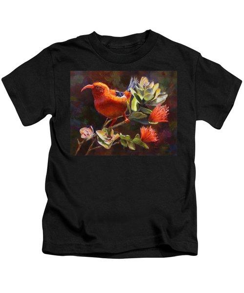 Hawaiian IIwi Bird And Ohia Lehua Flower Kids T-Shirt
