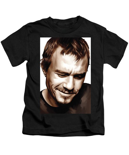 Heath Ledger Artwork Kids T-Shirt by Sheraz A