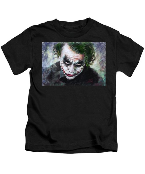 Heath Ledger The Dark Knight Kids T-Shirt by Viola El