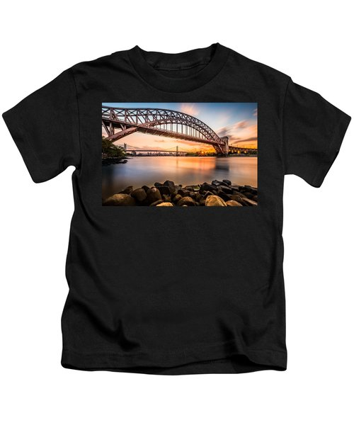 Hell Gate And Triboro Bridge At Sunset Kids T-Shirt