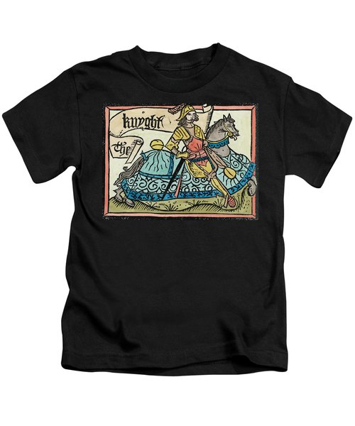Here Begynneth The Knightes Tale, Illustration From The Canterbury Tales By Geoffrey Chaucer Kids T-Shirt