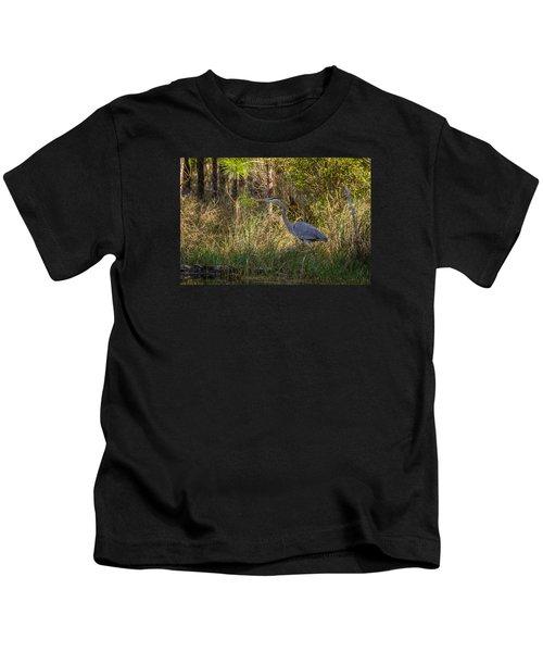 Heron On The Hunt Kids T-Shirt