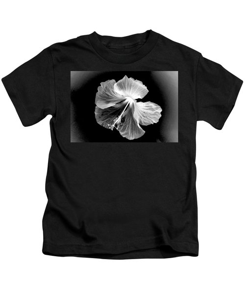 Hibiscus In Black And White Kids T-Shirt