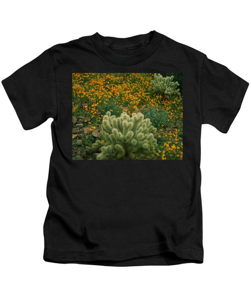 High Angle View Of Mexican Gold Poppies Kids T-Shirt