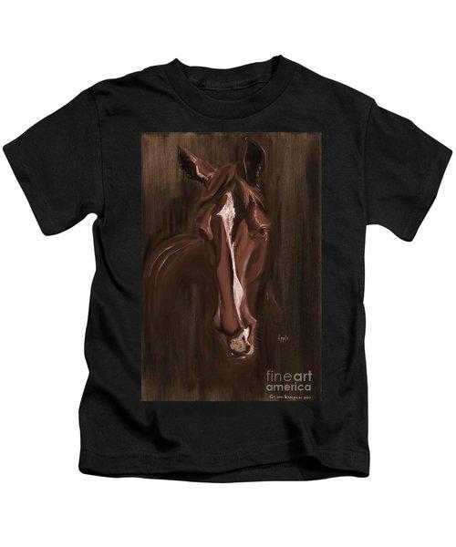 Horse Apple Warm Brown Kids T-Shirt