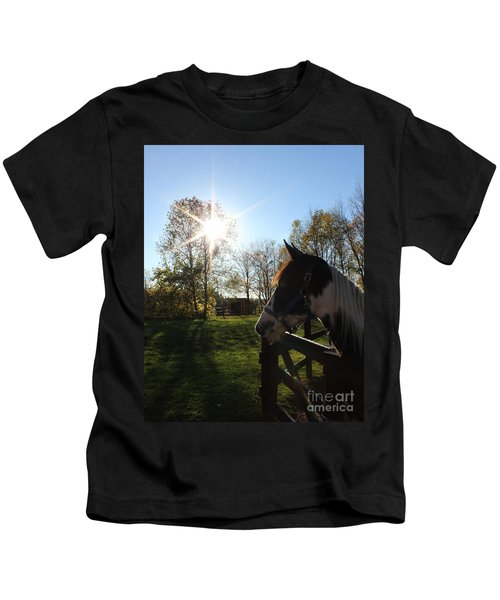 Horse With Sunburst Kids T-Shirt