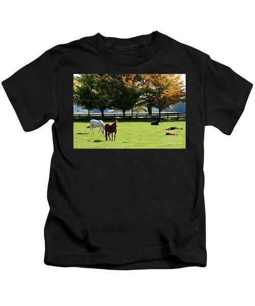 Horses In Fall Kids T-Shirt