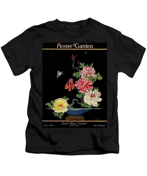 House & Garden Cover Illustration Of Peonies Kids T-Shirt