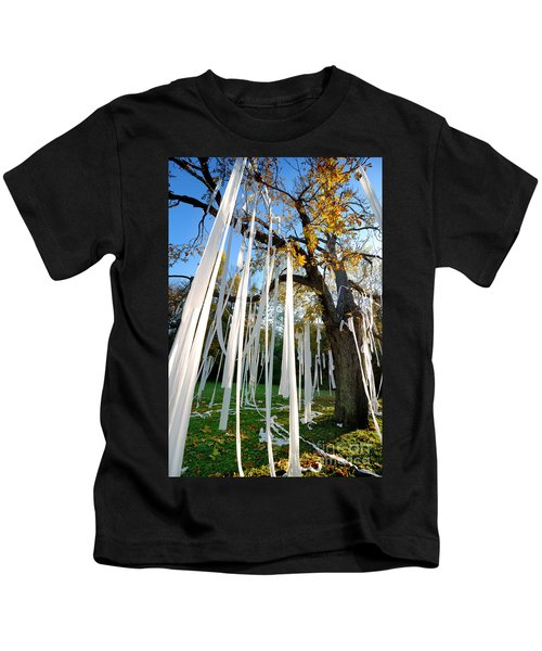 Huge Tree Covered In Toilet Paper Kids T-Shirt