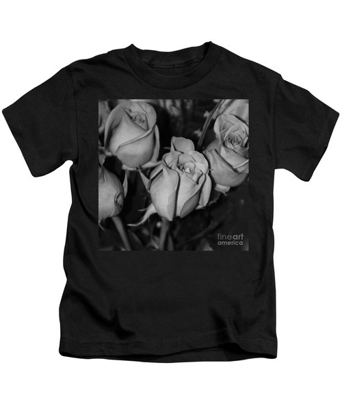 Black And White Roses Kids T-Shirt