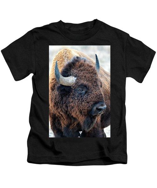 Bison The Mighty Beast Bison Das Machtige Tier North American Wildlife By Olena Art Kids T-Shirt