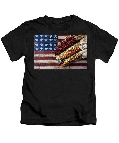 Indian Corn On American Flag Kids T-Shirt