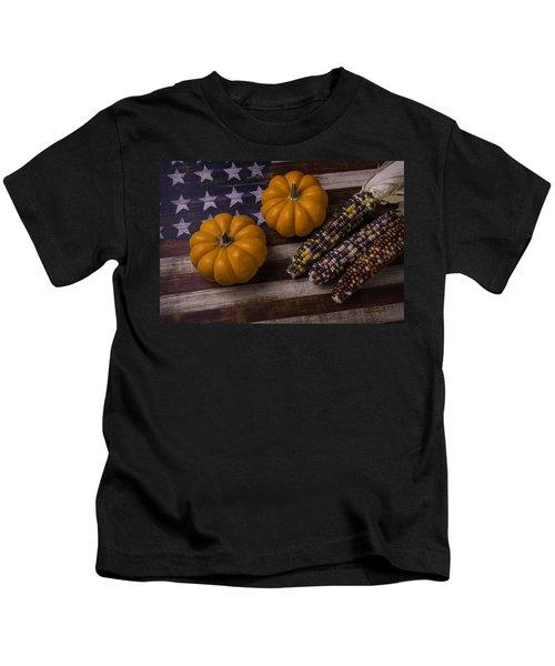 Indian Corn On Old Flag Kids T-Shirt