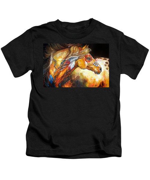 Indian War Horse Golden Sun Kids T-Shirt