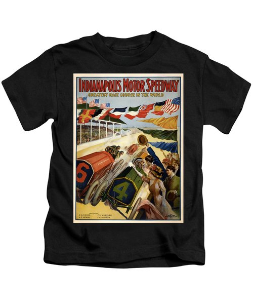 Indianapolis Motor Speedway - Vintage Lithograph Kids T-Shirt