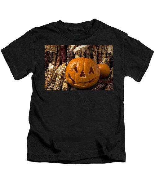 Jack-o-lantern And Indian Corn  Kids T-Shirt