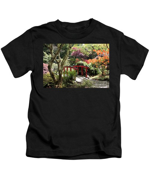 Japanese Garden Bridge With Rhododendrons Kids T-Shirt