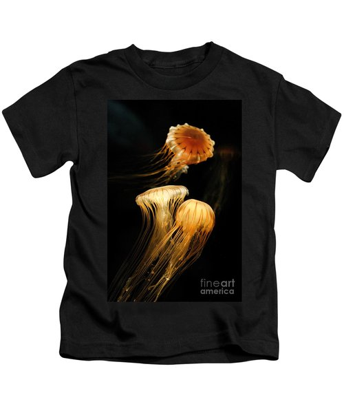 Jellyfish Trio Floating Against A Black Kids T-Shirt