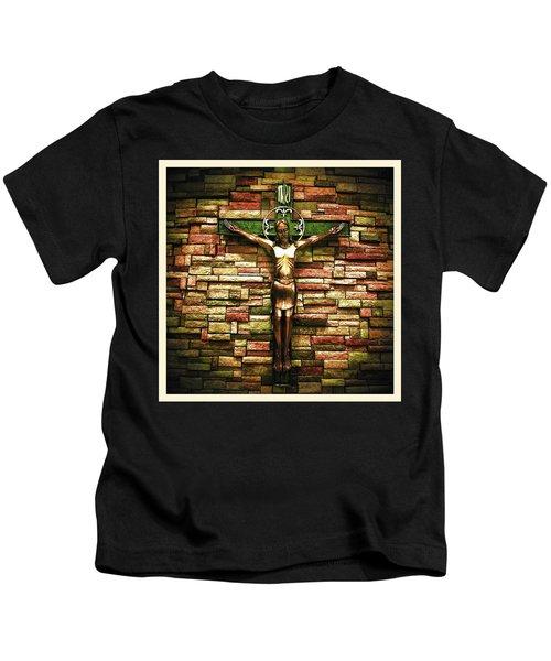 Jesus Is His Name Cream Border Kids T-Shirt
