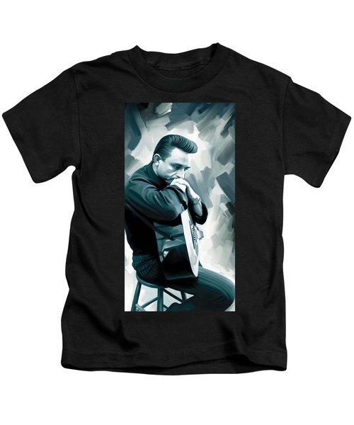 Johnny Cash Artwork 3 Kids T-Shirt by Sheraz A