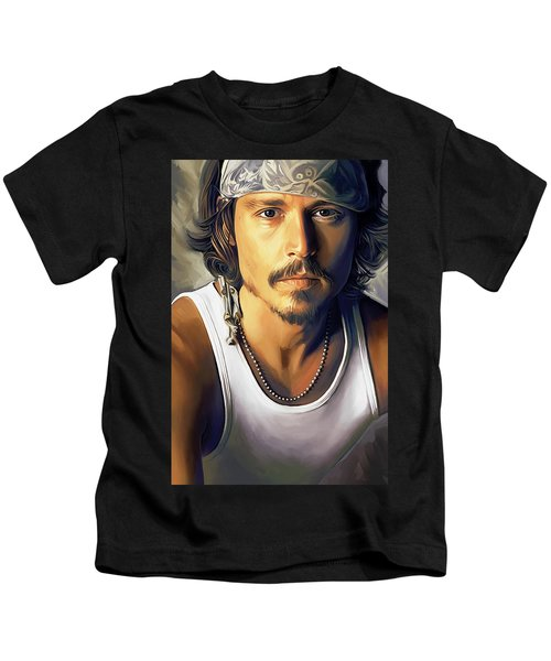 Johnny Depp Artwork Kids T-Shirt by Sheraz A