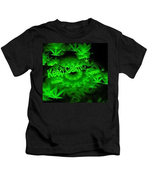 Keep Calm - Green Fractal Weed Art Kids T-Shirt