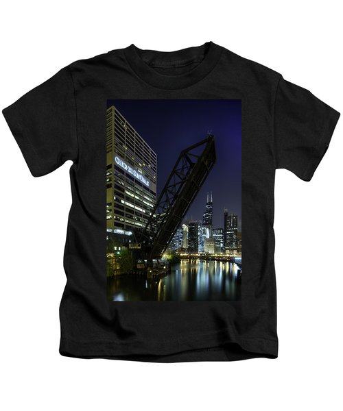 Kinzie Street Railroad Bridge At Night Kids T-Shirt