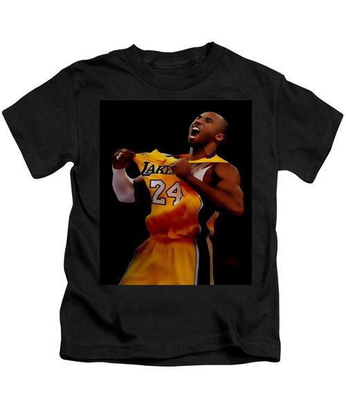 Kobe Bryant Sweet Victory Kids T-Shirt by Brian Reaves