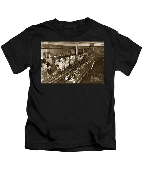 Ladies Packing Sardines In One Pound Oval Cans In One Of The Over 20 Cannery's Circa 1948 Kids T-Shirt