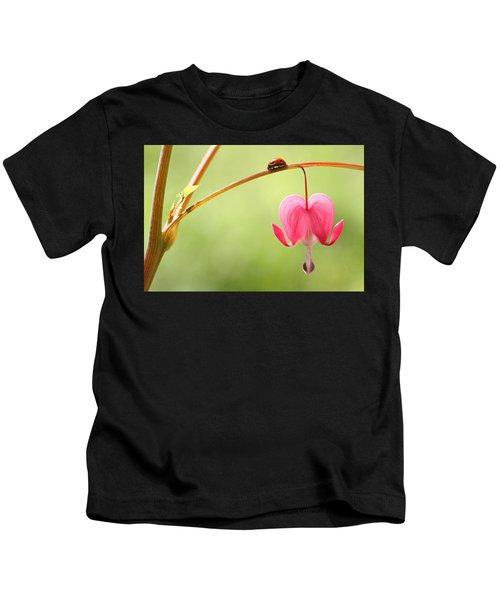 Ladybug And Bleeding Heart Flower Kids T-Shirt