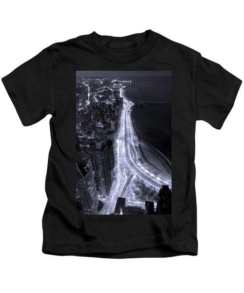 Lake Shore Drive Aerial  B And  W Kids T-Shirt