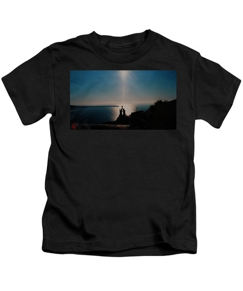 Kids T-Shirt featuring the photograph Late Evening Meditation On Santorini Island Greece by Colette V Hera  Guggenheim